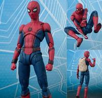 sıcak oyuncaklar pvc toptan satış-Yeni Sıcak 15 cm Avengers Spiderman Süper Kahraman Örümcek-Adam: Homecoming Action Figure Oyuncak Bebek Koleksiyonu Ile Noel Hediyesi kutu
