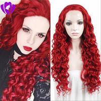 peluca rizada completa roja al por mayor-Hotselling 180density full Red color loose Curly Synthetic Lace Front Wig Gluelesss Fibra resistente al calor con línea de cabello para mujeres