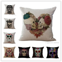 Wholesale pillow case design free for sale - Group buy 22 Designs Skull Pillow Case cm Cotton Linen Pillow Cover Bar Sofa Halloween Decoration Sofa Cushion Cover Pillowcase