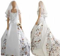 velo hacia atrás al por mayor-Moda Vestidos de novia blancos de camuflaje con velo Satén Apliques de encaje Vestidos de novia Lace Up Back Camuflaje largo personalizado Nuevo