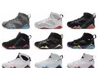 chaussures marvin martian achat en gros de-2019 Date 7 Chaussures De Basket-ball Hommes 7s VII Bordeaux Gris Foncé Sliver Lièvre Rien Que Des Filets Noirs Bobcats MARVIN THE MARTIAN Chaussures De Sport