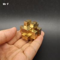 ingrosso gabbia in ottone-Mini Cage Puzzle With 12 Sticks Collection Toy Pure Brass Metallo Puzzle Modello di rame Brian Teaser Gadget