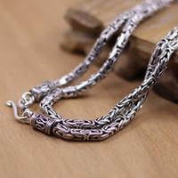 thailändische waren großhandel-Thai Waren Großhandel Silber S925 Silber Thai Handarbeit Antik 3mm Durchmesser für Männer und Frauen Halskette 55cm (22 Zoll)