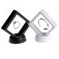 Wholesale coin jewelry rings - 2Colors Black white Suspended Floating Display Case Jewellery Coins Gems Artefacts Stand Holder Box For Women