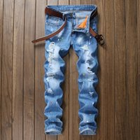 Wholesale hole stone - New INK Biker Summer Men Jeans Homme Hole Slim Fit Distressed Ripped Denim Pants Male Stone Washed Punk Cotton Jeans