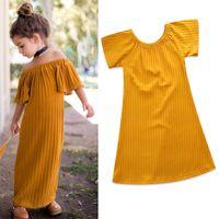 roupas para crianças amarelas venda por atacado-Vestidos das crianças para as meninas roupas dos desenhos animados amarelo princesa dress moda verão menina crianças vestidos de algodão boutique enfant roupas b11