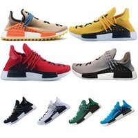 Wholesale trail running shoes online - Hot Cheap Human Race trail Running Shoes Men Women Pharrell Williams HU Runner Yellow Black White Red Green Grey blue sports sneaker