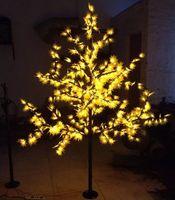 árvore de bordo do natal venda por atacado-672 LEDs 1.8M 6 pés Altura LED Maple Tree luz do feriado de Natal Luz árvore Waterproof 110 / 220VYellow / Red Cor uso ao ar livre