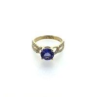 anillos de tanzanita oro 18k al por mayor-ANI Oro amarillo 18K (AU750) Anillo de boda para mujer certificado I / SI 1.578 ct Anillo de diamante natural de tanzanita de corte redondo para Enagement S923