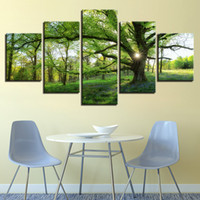 Wholesale green trees wall canvas - Framework HD Prints Pictures 5 Pieces Forest Green Trees Landscape Canvas Paintings Posters Home Decor For Living Room Wall Art