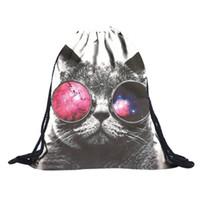 Wholesale cat drawstring backpacks resale online - Transer Unisex Emoji Backpacks Fashion animal cat D Printing Bags Drawstring Backpack drop shipping S20