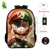 Wholesale super jacks - Super Mario Luigi Split Backpacks Multifunction USB Charge Headphone Jack Laptop Bags for Teens Children School Travel Bags