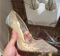 malha sapatos de casamento venda por atacado-2018 nova primavera verão estilos Elegantes mulheres sapatos de strass cristais de saltos altos dedo do pé apontado bombas de malha mulher sapatos de casamento