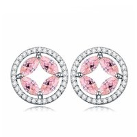Wholesale cheap women costume jewelry for sale - Circle Garnet Piercing Earrings AAA Cubic Zirconia festa for Women Cheap Costume Jewelry
