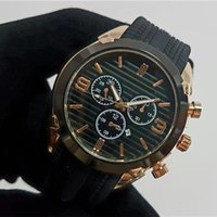 Wholesale automatic watches boys - Wholesale Geneva brand Luxury watches mens designer casual boy Automatic calendar black big dial sports rubber watch aaa Quartz clock gift