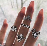 Wholesale nail joint rings resale online - Retro Womens Joint Knuckle Nail Ring Set Crown Hollow Out Stack Rings Knuckle Midi Mid Finger Tip Stacking Ri