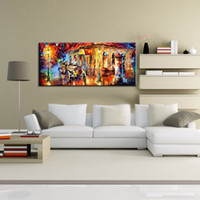 Wholesale wall beds more online - 2018 no framed Large Handpainted Rain Street Tree Landscape Oil Painting On Canvas Wall Art Wall Picture For bed Room Home Decor