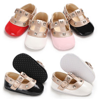 Wholesale baby white mary jane shoes for sale - Baby Girls Rivets fashion princess shoes Cute infants mary jane first walkers colors sizes T
