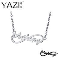 infinity freunde schmuck großhandel-YAZI Personalisierte Name Halskette 925 Sterling Silber Unendlichkeit Anhänger Graviert Einzigen Namen Custom Schmuck Speicher Geschenk Für Freund