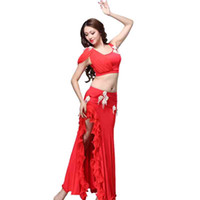 ingrosso abiti da ballo di pancia-Donne Belly Dancewear Ritagliata Top Gonna con bordo arruffato Mutande 3pcs Set Lady Girls Indian Oriental Vestiti danzanti Indumenti Outf