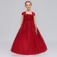 ingrosso ragazza di fiore veste il vino rosso-Flower Girl Dress For Wedding Party Vino Rosso Bambina Abito formale con applicazioni Cute Kids Abbigliamento formale In magazzino
