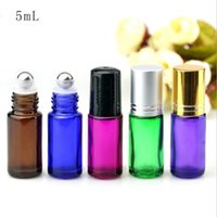 Wholesale essential oil lip balms for sale - Group buy 5ml Colorful Thick Glass Essential Oil Roller Bottles With Glass Roller Balls Aromatherapy Perfumes Lip Balms Roll On Bottle