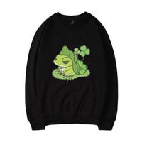 jersey de rana al por mayor-Juego para móvil Travel Frog Autumn Winter Sweatshirt Estilo de vida budista Traveling Frog Tabikaeru Print Algodón Sudadera Pullover
