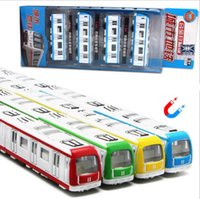 Wholesale Metal Train Sets - 1:64 scale magnetic alloy toys,pull back subway rail car models,die-casting metal model toys, children's gifts,free shipping