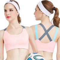 Wholesale Womens Unlined Bras - 100pcs Fitness Yoga Push Up Sports Bra for Womens Gym Running Padded Tank Top Athletic Vest Underwear Shockproof Strappy Sport Bra Top AP195