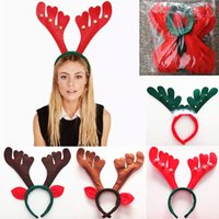 Wholesale reindeer antlers wholesale - Christmas Reindeer Deer Headband Decorations Antler Hair Bands Red Halloween Headband Holiday Party Birthday Party Supplies HH7-1318