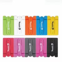 cep telefonları için geri çıkartmalar toptan satış-Dokunmatik Silikon Standı Kart Kol Adam Kadın Cep Telefonu Braketi Taşınabilir U Şekli Çok Fonksiyonlu Geri Sticker Saf Renk 8xy bb