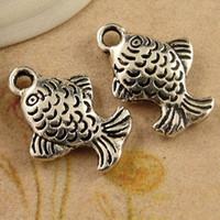 ingrosso piccoli fascini d'argento di pesce-A3887 12 * 16MM antico charms in argento tibetano carpa, pendenti di pesce vintage gioielli retrò all'ingrosso piccola cosa d'antiquariato, ottone fascino in metallo