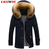 Wholesale mens wool cashmere blend overcoats - Wholesale- LONMMY 3XL Windbreaker Trench mens cashmere coat Long style Detachable fur collar overcoat Fashion Wool Blends Black 2017 Winter