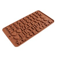 feliz aniversário molde venda por atacado-Happy Birthday mold Chocolates Peça Mini- Pesquisa de Açúcar. Modelo de chocolates digitais Modelo de bolo DIY ferramentas de silicone