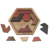 деревянные геометрические головоломки оптовых-Новые забавные головоломки дерево геометрические аномалии форма головоломки деревянные игрушки Tangram / головоломки доска дети развивающие игрушки для мальчиков