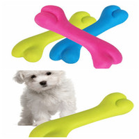 Wholesale dog teeth bones - Small Pet Dogs Cats Puppy Toy Rubber Resistant Chicken Bone Shaped Bite Clean Teeth Chew Training Funny Toys DDA347