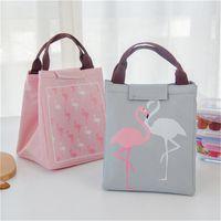 Wholesale Cooler Foods - Flamingo thermal Bag Black Waterproof Oxford Beach Lunch Bag Food Picnic Warm Cool Keeper Women kid Men Cooler Bag