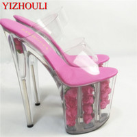 розовые альбомы оптовых-Сексуальные романтические сандалии из розового хрусталя, сценическое фотоальбом 20 см ультра-прозрачные тапочки