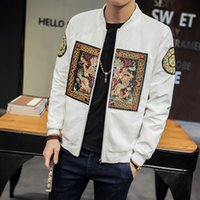 abrigos chinos ajustados al por mayor-Spring Bomber Jacket Hombres Nueva Moda Chino Long Pao Chaquetas Hombres Slim Fit Manga Larga Casual Mens Coats Windbreaker 5XL-M
