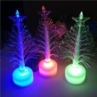 Wholesale led artificial tree wholesale - LED Mini Optical Fiber Artificial Tree For Bar Christmas Best Decoration Multi Color Mini Plastic Trees Hot Sale 1 6rl Z