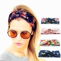 turbante de yoga al por mayor-Turbante giratorio Turban Floral impresiones para las mujeres estirar Hairbands deporte vendas Yoga Headwrap niñas accesorios para el cabello OPP Soundmae