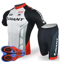 кружевные майки оптовых-Гигантская команда Велоспорт короткие рукава Джерси (нагрудник) шорты наборы езда на велосипеде летом дышащая одежда одежда ropa ciclismo 9D гель pad F2005