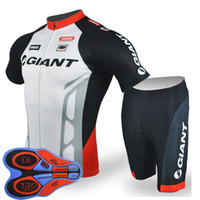 Wholesale team cycling jersey bibs resale online - GIANT team Cycling Short Sleeves jersey bib shorts sets riding bike Summer breathable wear clothing ropa ciclismo D gel pad F2005