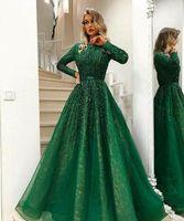 beaded top lange prom kleider großhandel-2018 Sexy Arabisch Dark Green Long Sleeves Spitze Eine Linie Abendkleider Perlen Steine Top Tulle Bodenlangen Prom Party Kleider Plus Größe