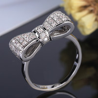 Wholesale Exquisite Silver Jewelry - 2018 New Exquisite Women White Bow Tie Jewelry 925 Sterling Silver Ring Size 6-10
