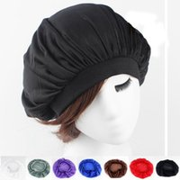 Wholesale Cover Grey Hair - Fashion Girls Night Sleep Hat Women's Long Hair Care Cap Satin Bonnet Cap Head Wrap Cover Headscarf