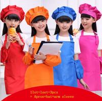 kids apron venda por atacado-Crianças coloridas Cozinha Avental Cozinhar Pintura Limpeza Desenho Arte Bib Chef avental chapéu manga braço 3 pcs 1 conjunto KKA5211