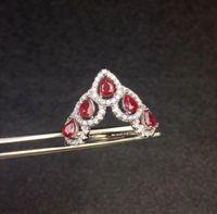 ingrosso anello rubino naturale argento-Anello rubino Spedizione gratuita Natural real ruby 925 sterling silver 0.35ct * 5pcs gemstone Fine jewelry Per uomini o donne # SB18100307