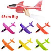 uçak oyuncak diy toptan satış-Mix Renk Toptan 10 Adet 48 Cm Çocuklar DIY Açık Köpük Uçan yapılmış Plastik El Uçağı Uçan Planör Uçak Modeli Uçak Oyuncaklar