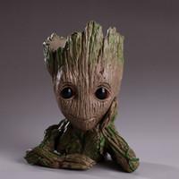 chocolate de navidad al por mayor-Guardianes de The Galaxy Pen contenedor 15 cm Bebé Groot Figura Maceta Flor de juguete Pluma Pot Regalo de Navidad